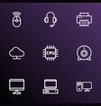 computer icons line style set with storage vector image