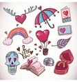 Doodle cartoon love collection vector image vector image