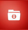 download arrow with folder icon on red background vector image vector image