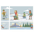 flat colorful fishing hobcomposition vector image