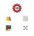 flat icon entertainment set of labyrinth cube vector image