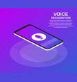 flat voice recognition landing page design vector image vector image