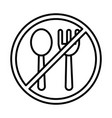 fork and spoon with forbidden sign line and fill vector image vector image