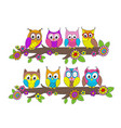 funny owls on branch vector image vector image