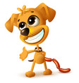funny yellow puppy hides sausages vector image vector image