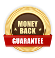 Golden medal Money Back guarantee vector image vector image
