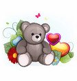 gray teddy bear with valentines day hearts vector image