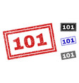 grunge 101 scratched rectangle stamps vector image vector image