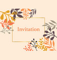 invitation card leaves orange vector image