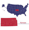 kansas map counties with usa map vector image vector image