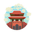 korea landmark icon traditional asian temple vector image