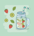 lemon and strawberry juice jar with straw vector image