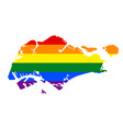 lgbt flag map of singapore rainbow map of vector image