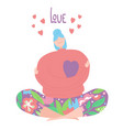 love yourself doodle girl sitting and hugging vector image vector image