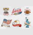 native american set old labels or badges vector image