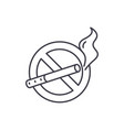 no smoking line icon concept no smoking vector image