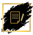 paper and pencil sign golden icon at vector image vector image