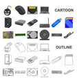 personal computer cartoon icons in set collection vector image