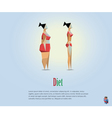 polygonal of diet fat and slim girl vector image