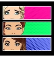 Pop art banner with female eyes vector image