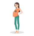 pretty lady in color casual clothes for pregnancy vector image