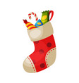 red sock with sweets christmas and new year vector image vector image