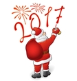Santa draws 2017 and fireworks vector image vector image