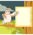 Screech-Owl on the flat tree background vector image vector image