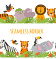 seamless border with jungle animal vector image vector image