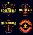 set hookah labels badges and design elements vector image vector image
