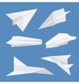 Set of paper planes airplane isolated vector image