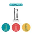 skyscraper building outline icons set vector image vector image