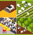 smart farm concept icons set vector image