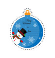 snowman in black hat merry christmas christmas vector image