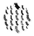 socks textile icons set simple style vector image