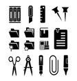 stationery isolated icons set vector image