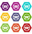 steering wheel of taxi icon set color hexahedron vector image vector image