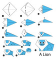 step instructions how to make origami a lion vector image vector image