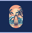 surfing summer beach t-shirt graphic design vector image vector image