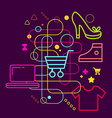 Symbols of shopping on abstract colorful dark vector image vector image