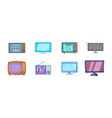 Tv icon set cartoon style vector image