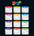vertical color pocket calendar on 2020 year week vector image vector image
