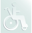 White paper icon disabled person in wheelchair vector image