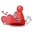 with heart photo of a cartoon woolen beanie vector image vector image