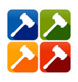 wood hammer silhouette round square symbol icon vector image