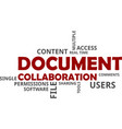 word cloud - document collaboration vector image vector image