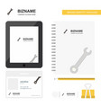 wrench business logo tab app diary pvc employee vector image vector image