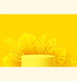 yellow product podium with paper cut monstera leaf vector image vector image