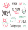 yoga quotes set hand drawn lettering vector image