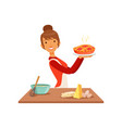 young smiling woman holding freshly baked pie vector image vector image